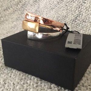 Silver Gold Rose Hinged Bracelet RLM Soho NWT